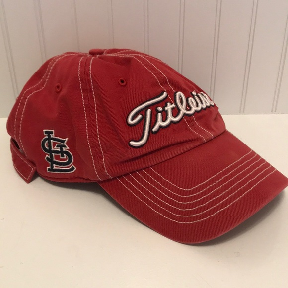 Red Titlest St Louis Cardinals adjustable ballcap.  M 5b42aa56c9bf50e7568a7af3. Other Accessories you may like. Titleist Golf  Visor 36a14caed